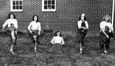 A great action shot for five 1950s cheerleaders. #vintage #cheerleaders #school #1950s