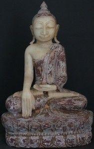 Burmese Shan Alabaster Buddha Statue
