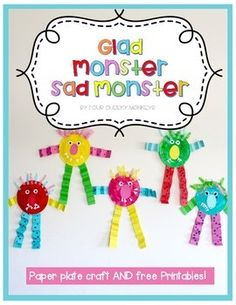 All the templates needed to create this simple craft activity including a free printable for use with the popular children's story 'Glad Monster Sad Monster'. You can use the free printable to either, paint, draw or collage a picture related to feelings and emotions, or