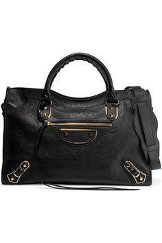 Balenciaga   City glossed textured-leather tote   NET-A-PORTER.COM