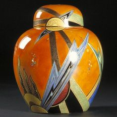 Art Decó earthenware jar and cover painted in enamels and gilt ~ by Enoch Boulton for Wiltshaw & Robinson Ltd Carlton Works, Stoke-on-Trent ~ England, UK ~ 1928.