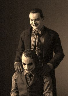 Funny pictures about Jack Nicholson And Heath Ledger As The Jokers. Oh, and cool pics about Jack Nicholson And Heath Ledger As The Jokers. Also, Jack Nicholson And Heath Ledger As The Jokers photos. Jack Nicholson, Joker Nicholson, Comic Kunst, Comic Art, Comic Books, Chewbacca, Dark Knight, Joker Et Harley, The Joker