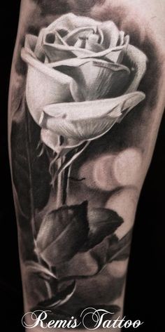 Realistic Black And Grey Rose Tattoo by ~Remistattoo on deviantART
