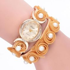 2017 Women Watches Bracelet Watch Ladies Fashion Women's Dress Watches Pearl Leather Band Crystal Dial Quartz Wristwatches Jan04