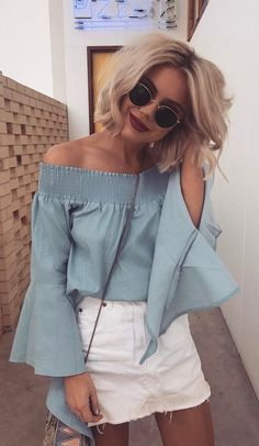 #summer #outfits Blue Off The Shoulder Top + White Denim Skirt