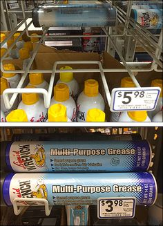 A famous name leverages its Brand by extending itself to Multi-Purpose Grease merchandise. My interest however is the Liquid Wrench Under-Shelf Gravity Feed Grease, Purpose, Shelf, Retail, Shelves, Retail Merchandising, Shelving