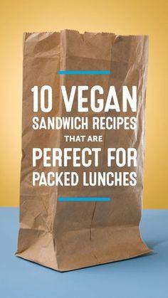 10 Vegan Sandwich Recipes That Are Perfect for Lunch on the Go – Gesundes Abendessen, Vegetarische Rezepte, Vegane Desserts, Healthy Vegan Snacks, Vegan Lunches, Vegan Foods, Vegan Dishes, Work Lunches, Vegan Meals, Vegan Snacks On The Go, Eating Healthy, Clean Eating