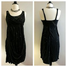 All Saints Spitafields London Embellished Dress NWOT. Drape front. Stretch material. Size XS. Missing care tag. All Saints Dresses