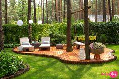 Wood Landscape Edging, Landscape Design, Garden Design, Deck Around Trees, Tree Deck, Hillside Landscaping, Outdoor Landscaping, Wooded Backyard Landscape, Backyard Patio Designs