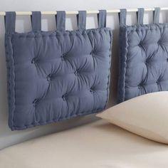Coussin capitonné pour tête de lit en boutis coton Tertio® - Bleu- Vue 1