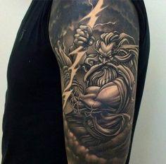 Zeus with a lightning bolt Tattoo #Tattoo, #Tattooed, #Tattoos