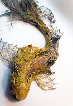 """""""Natural history surrealist sculpture,"""" is what sculptor Ellen Jewett calls her creations which are a mixture of both plants and animals. Her work references many different sources such… Art Sculpture, Animal Sculptures, Clay Sculptures, Surrealism Sculpture, Pottery Sculpture, Pop Surrealism, Abstract Sculpture, Fantasy Kunst, Fantasy Art"""