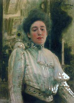 Portrait of Alexandra Pavlovna Botkina, 1901 by Ilya Repin. Realism. portrait