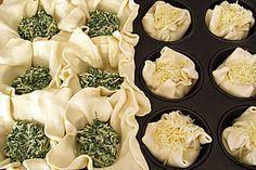 Blätterteig Spinat Muffins