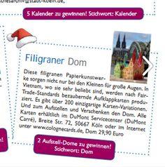 Geschenketipps: Das Stadtmagazin #KölnerLeben empfiehlt CologneCards | Pop-Up Karten. In der aktuellen Ausgabe des Magazins gibt es zudem zwei unserer Deko Aufsteller des Kölner Doms zu gewinnen (S.31). Filigrane Papierkunst in 3D und eine tolle Überraschung zum Fest! Allen Teilnehmerinnen und Teilnehmern wünschen wir viel Erfolg!  #köln #klappkarte #popupkarte #dom #homeiswherethedomis #colognecards  https://issuu.com/kaenguru/docs/rz_kl_heft_06-16.indd