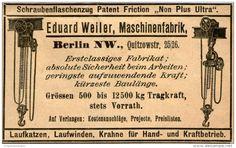 Original-Werbung/ Anzeige 1901 - SCHRAUBENFLASCHENZUG / MASCHINENFABRIK EDUARD WEILER BERLIN - ca. 90 x 55 mm