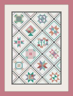 Counted Cross Stitch Spring Quilt Sampler Modern by LindyStitches