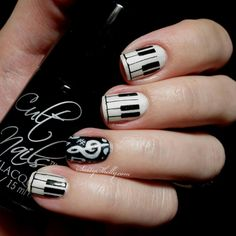 piano and music note nails
