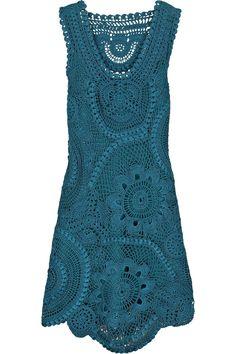 Oscar de la Renta silk crochet dress