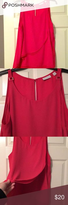 Pink blouse Layer pink blouse with a silver detail on straps. Great condition. New York & Company Tops Blouses