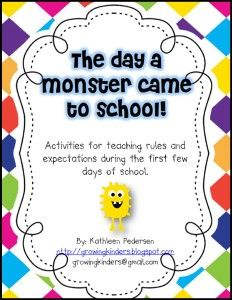 The Day Monster Came to School.- link on this site Great behavior for beginning of school Classroom Schedule Cards Free Printable