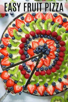 Pizza Dessert, Fruit Pizza Frosting, Fruit Pizza Bar, Easy Fruit Pizza, Easy Fruit Desserts, Fruit Pizzas, Health Desserts, Soft Sugar Cookies, Sugar Cookie Dough
