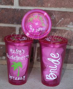 Personalized Acrylic Cups/Tumblers for Bachelorette Party or Wedding Party, SET OF 10