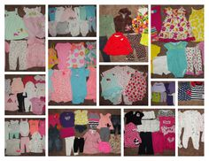 155 pc Baby Girl Newborn 0-3 3-6 6 month Clothes Lot Carters Spring Summer NICE! #Carters #Everyday