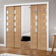 Quad Telescopic Pocket Palermo Oak Veneer Door - 4 Panes of Obscure Glass. Oak Doors With Glass, Solid Oak Doors, Commercial Interior Design, Commercial Interiors, Accordian Door, Sliding Door Panels, Veneer Door, Room Divider Doors, Barn Door Designs