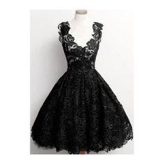 Solid Black V Neck Lace A Line Dress (600 CZK) ❤ liked on Polyvore featuring dresses, black, v neck lace dress, black dress, black a line dress, lace dress и a line cocktail dress
