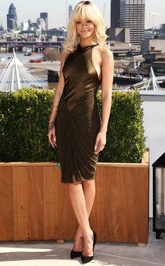 Rihanna in an olive Alexander Wang Pre-Fall 2012 dress at the Battleship photo call in London.