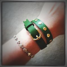 John's cousin designed these! Check 'em out at Shop.CareyBags.com.  Skinny wrap leather bracelet with rivets