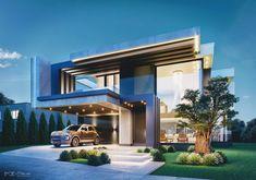 Architecture Building Design, Home Building Design, Modern Architecture House, Facade Design, Exterior Design, Chinese Architecture, Futuristic Architecture, Duplex Design, Bungalow House Design