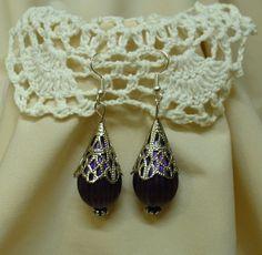 """""""Lila csepp"""" fülbevaló * Earring """"Purple drop"""" Pendant Necklace, Drop Earrings, Purple, Jewelry, Fashion, Jewerly, Moda, Jewlery, Fashion Styles"""