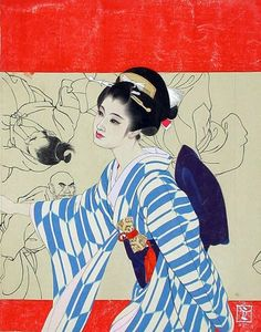"taishou-kun: ""Shimura Tatsumi 志村立美 (1907-1980) Woman in the arrow pattern kimono in front of a musha drawing - Illustration for a magazine cover - 1950s """