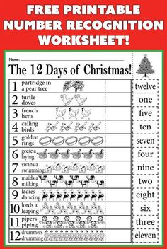 """As the holidays get closer, keep your kids engaged and learning with this """"12 days of Christmas"""" number recognition worksheet."""