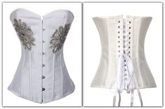 $73.99  Item No : DP5352  Sizes S, M, L, XL & XXL  Material : 82% Nylon + 18% Spandex   White Rhinestones Corsets include corset and g-string. Simple white corset. Perfect to wear under clothes and as outerwear. A popular design, the simplicity of the design creates a classic look.   * Acrylic Bones * Stainless Steel Busk Closure * Ribbon Lacing * No trim * No Suspender Loops * Bust line: Sweetheart