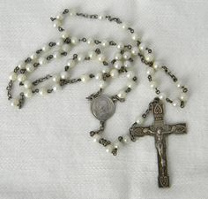 Vintage Catholic Sirver Faux Round White Pearl Virgin Mary Rosary 17""