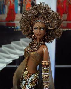 Miss Chad 2011 Beautiful Jean Paul Gaultier, Barbie Miss, Barbie Style, Hair Streaks, Diva Dolls, African American Dolls, Beautiful Barbie Dolls, Sexy Hips, Golden Blonde