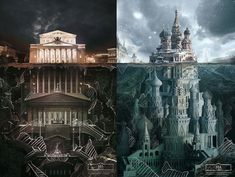 """BELOW THE SURFACE - Agency Saatchi&Saatchi Russia has made illustrations campaign for the Schusev State Museum of Architecture in Moscow, entitled as """"Below The Surface"""". Landscape Illustration, Landscape Art, Abstract Portrait Painting, Portrait Paintings, Acrylic Paintings, Art Paintings, Abstract Art, Underground Building, Saatchi & Saatchi"""
