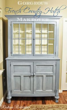 Rustique Restoration: Gorgeous French Country Hutch Makeover blue china cabinet with white old white interior and a white glaze