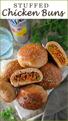 These portable Spiced Chicken Stuffed Buns make snacking delightful! Filled with aromatic chicken thats sauteed with ginger garlic and a plethora of spices these are wonderful to take along on hikes or road trips! Chicken Buns, Chicken Milk, Chicken Spices, Chicken Recipes, Ground Chicken, Dry Yeast, Tray Bakes, Appetizers, Favorite Recipes