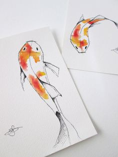 Set of two original watercolor and ink Koi fish Pen And Watercolor, Watercolor Paintings, Tattoo Watercolor, Painting Inspiration, Art Inspo, Tattoo Inspiration, Scratch Art, Digital Art Girl, Pottery Painting