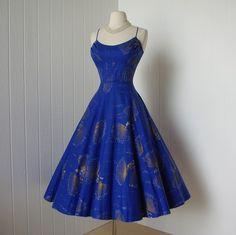 vintage 1950s dress ...master textile designer ALFRED by traven7