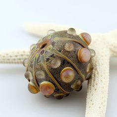 Lampwork Glass Hollow Bead Sea Urchin Sea by StoneDesignsbySheila