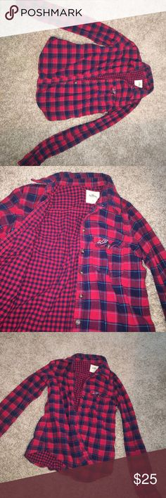 Holister Flannel Navy blue & Red plaid Flannel! Great condition, only worn a few times! Hollister Tops Button Down Shirts