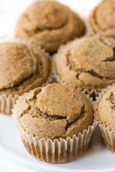 Flourless Vegan Banana Muffins - so light, tender, and loaded with flavour, you'd never know they were made without flour, oil, eggs, or refined sugar.