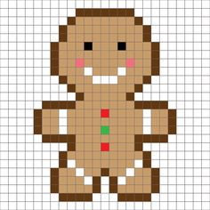 Crochet Gingerbread Man Pixel Square - Repeat Crafter Me The gingerbread man has been baking for the past couple days and now he is ready to join the Croche Christmas Afghan, Christmas Cross, Crochet Christmas, Christmas Ideas, Xmas, Mosaico Lego, Pixel Art Noel, Cross Stitch Designs, Cross Stitch Patterns