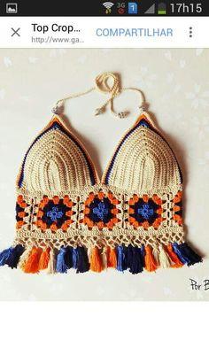 Swimsuit, handmade crochet bra made of cotton and natural wool - Knitwear bra summer comfortable bra bra Tops A Crochet, Mode Crochet, Crochet Granny, Knit Crochet, Crochet Squares, Granny Squares, Crochet Bikini Top, Crochet Blouse, Crochet Shorts