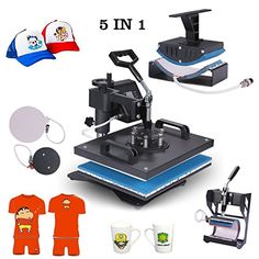 "Superland Power Heat Press 5 in 1 Industrial-Quality 12-by-15-Inch Multifunctional Sublimation T-Shirt Hat Mug Heat Press Machine (5 in 1: 12"" x 15"")  Transfer printer with 5 heating elements of varying size; temperature range up to 480F  Heat press machine voltage:110v power:1400 w; Full 360-degree rotation of swing-away design  Heat press platen press: 12"" x 15""; Mug press: 3""-3.5""diameter (11oz); Hat/Cap press: 6"" x 3"" (curved)  This heat press machine equipped with digital LED temp..."